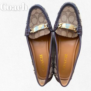 Coach Olive Brown Leather Logo Gold Detail Loafers